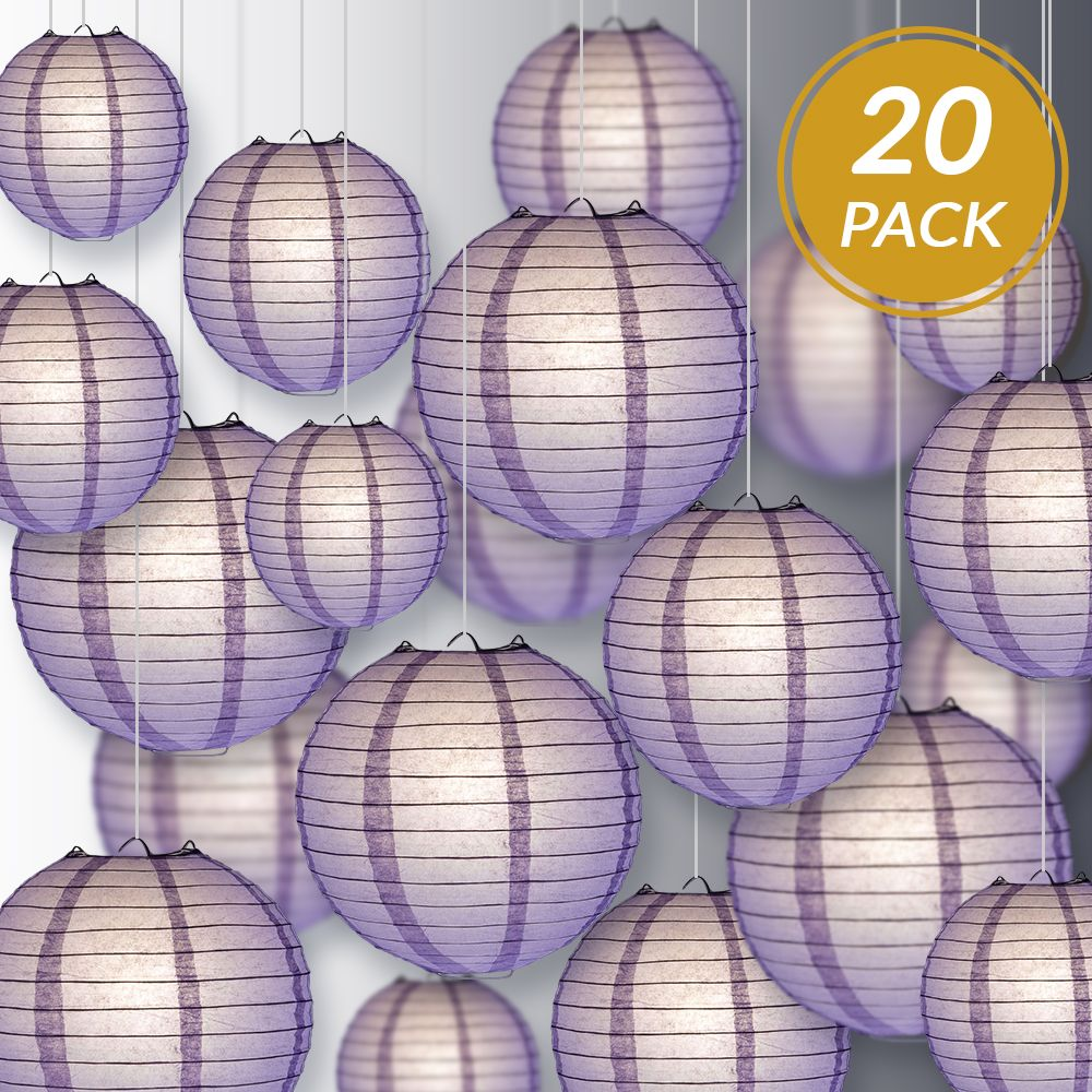 Ultimate 20pc Lavender Paper Lantern Party Pack - Assorted Sizes of 6, 8, 10, 12 for Weddings, Birthday, Events and Decor - PaperLanternStore.com - Paper Lanterns, Decor, Party Lights & More