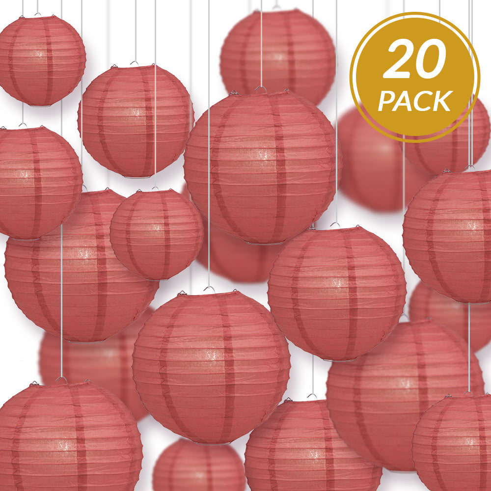 Ultimate 20pc Marsala Burgundy Wine Paper Lantern Party Pack - Assorted Sizes of 6, 8, 10, 12 for Weddings, Birthday, Events and Decor