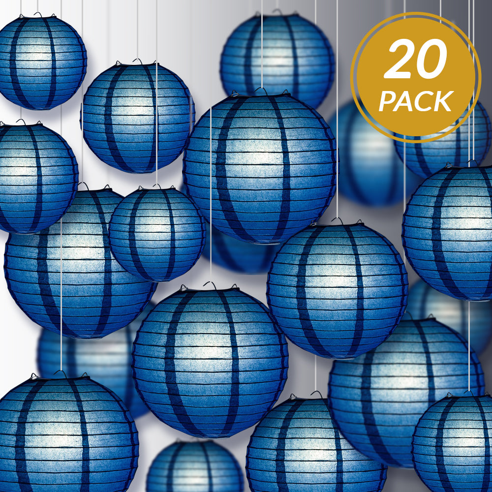 Ultimate 20pc Navy Blue Paper Lantern Party Pack - Assorted Sizes of 6, 8, 10, 12 for Weddings, Birthday, Events and Decor - PaperLanternStore.com - Paper Lanterns, Decor, Party Lights & More