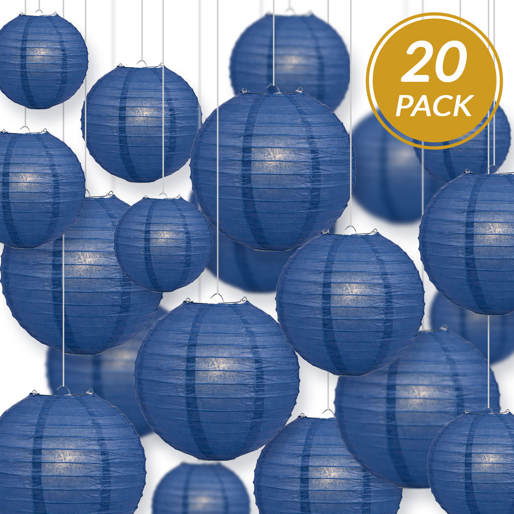 Ultimate 20pc Navy Blue Paper Lantern Party Pack - Assorted Sizes of 6, 8, 10, 12 for Weddings, Birthday, Events and Decor