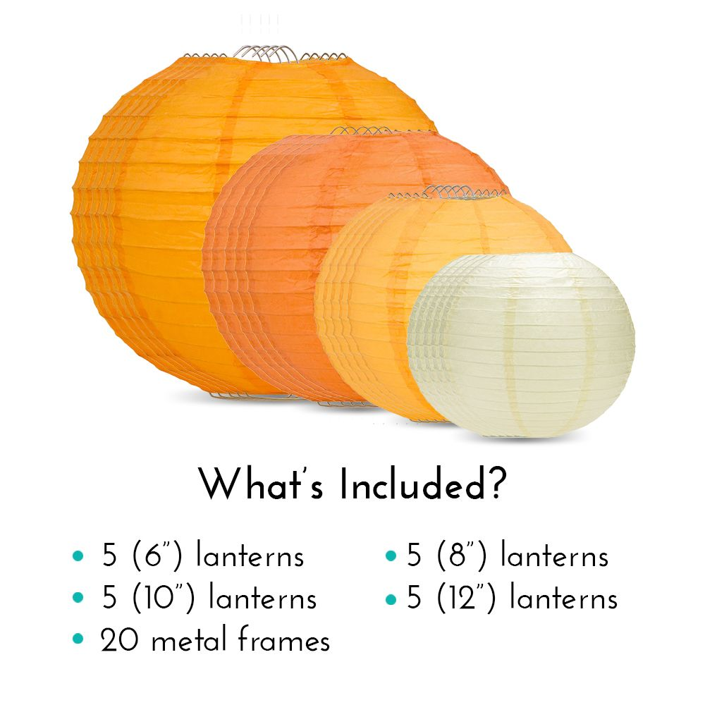 "Ultimate 20-Piece Orange Variety Paper Lantern Party Pack - Assorted Sizes of 6"", 8"", 10"", 12"" (5 Round Lanterns Each) for Weddings, Events and Decor"