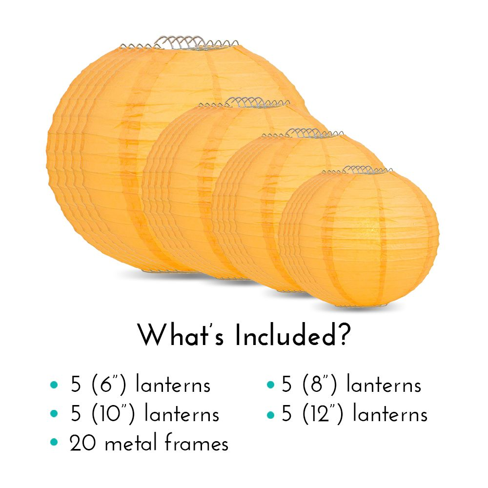 Ultimate 20pc Papaya Paper Lantern Party Pack - Assorted Sizes of 6, 8, 10, 12 for Weddings, Birthday, Events and Decor