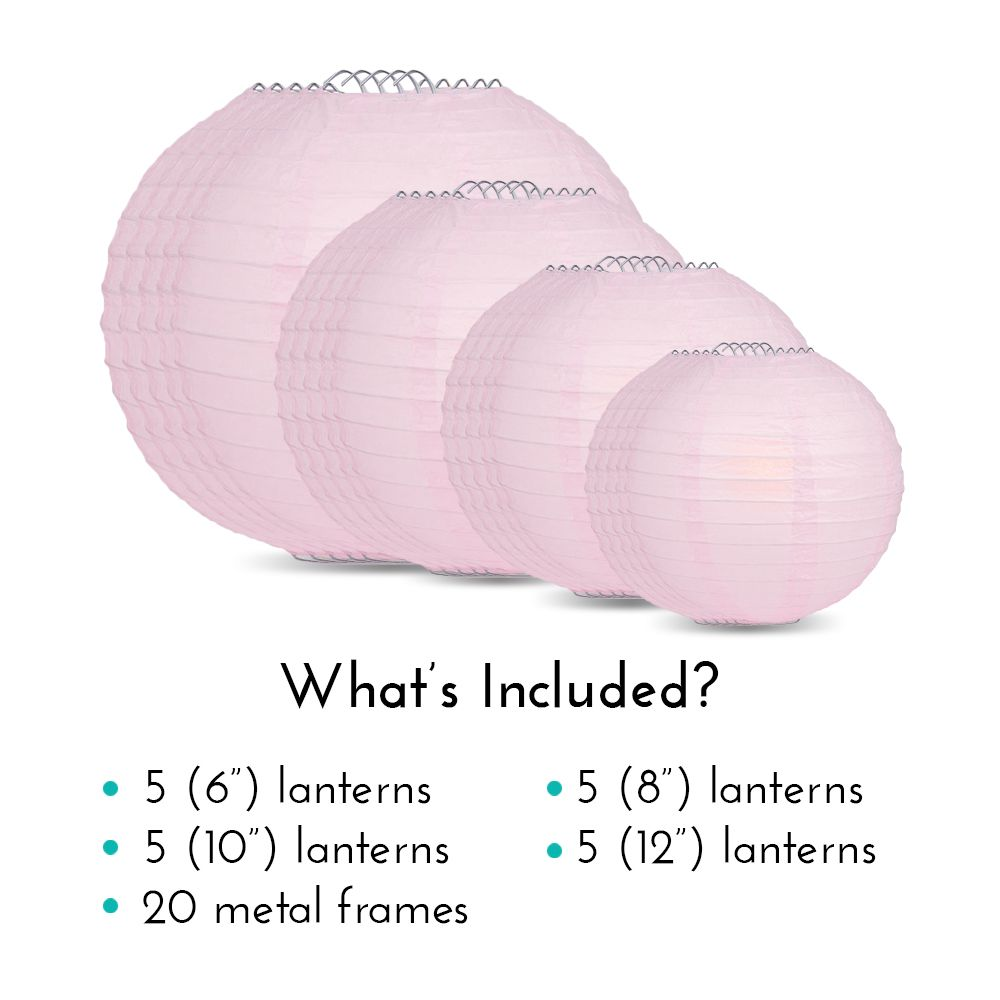 Ultimate 20pc Pink Paper Lantern Party Pack - Assorted Sizes of 6, 8, 10, 12 for Weddings, Birthday, Events and Decor