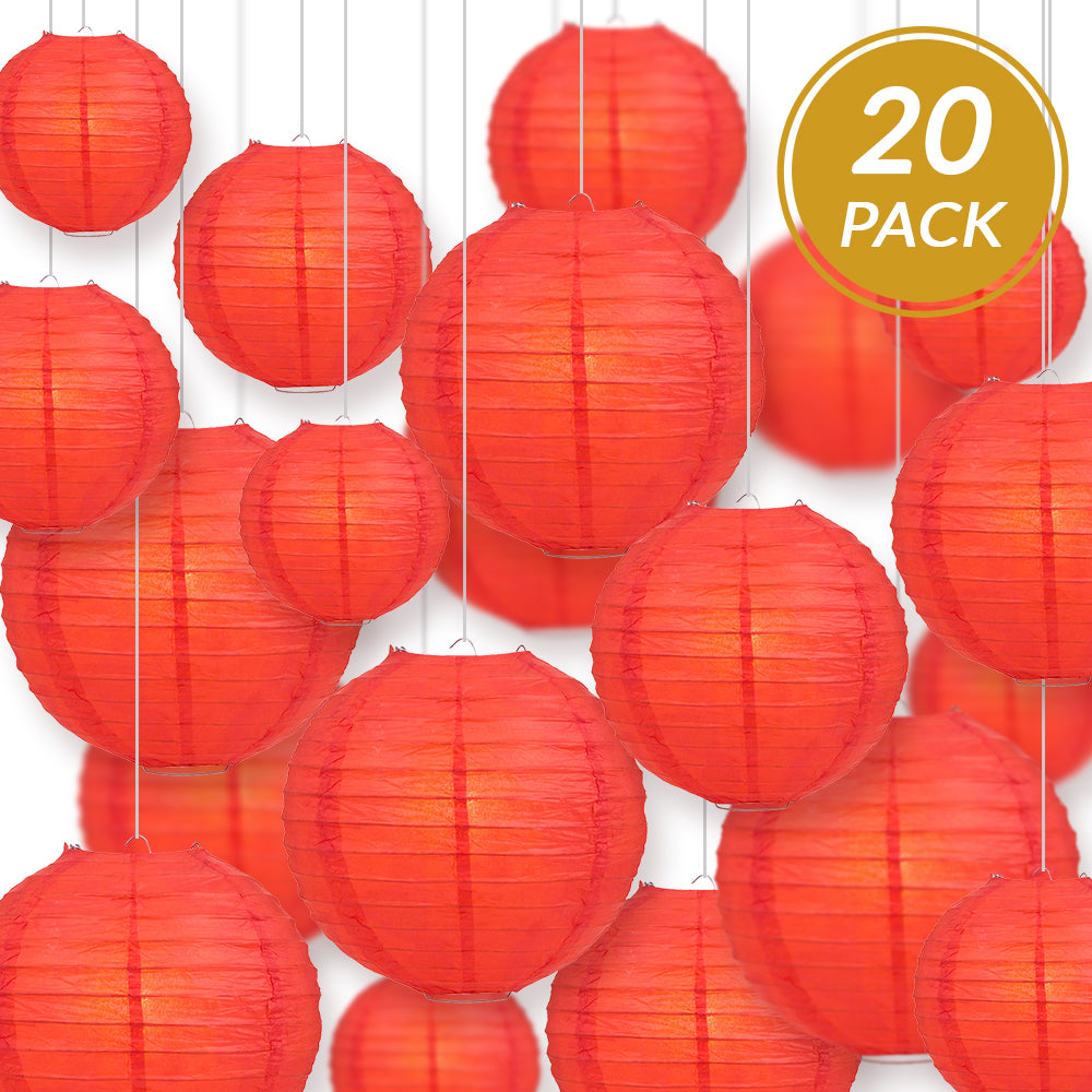 Ultimate 20pc Red Paper Lantern Party Pack - Assorted Sizes of 6, 8, 10, 12 for Weddings, Birthday, Events and Decor