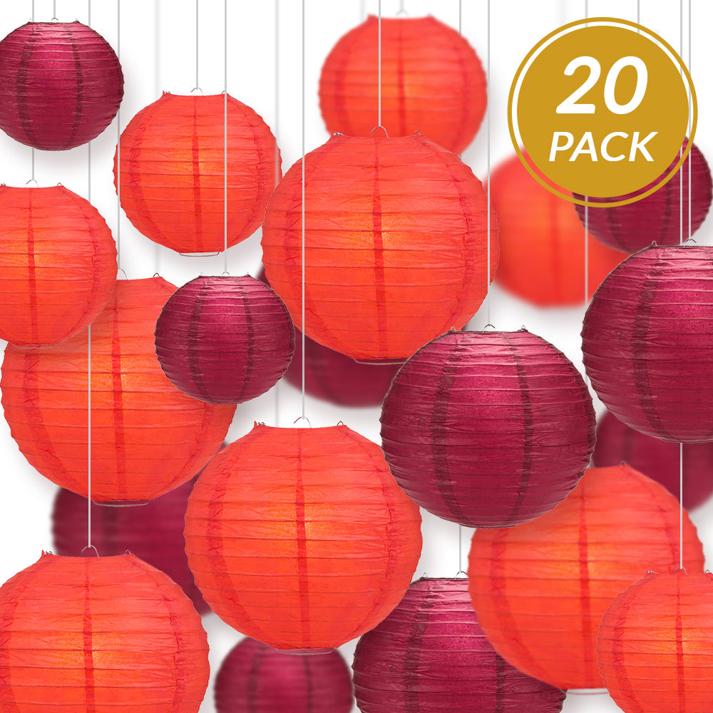 "Ultimate 20-Piece Red Variety Paper Lantern Party Pack - Assorted Sizes of 6"", 8"", 10"", 12"" (5 Round Lanterns Each) for Weddings, Birthday, Events and Decor - PaperLanternStore.com - Paper Lanterns, Decor, Party Lights & More"