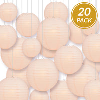 Ultimate 20pc Rose Quartz Pink Paper Lantern Party Pack - Assorted Sizes of 6, 8, 10, 12 for Weddings, Birthday, Events and Decor