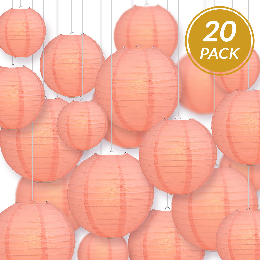 Ultimate 20pc Roseate Pink Paper Lantern Party Pack - Assorted Sizes of 6, 8, 10, 12 for Weddings, Birthday, Events and Decor