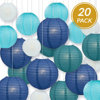 "Ultimate 20-Piece Sea Blue Variety Paper Lantern Party Pack - Assorted Sizes - 6"", 8"", 10"", 12"" (5 Round Lanterns Each) for Weddings, Events and Decor"