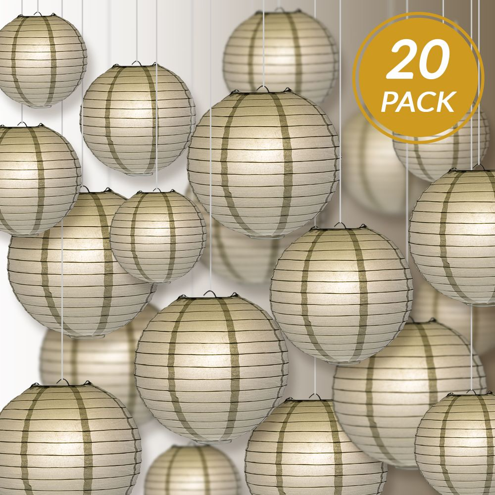 Ultimate 20pc Silver Paper Lantern Party Pack - Assorted Sizes of 6, 8, 10, 12 for Weddings, Birthday, Events and Decor