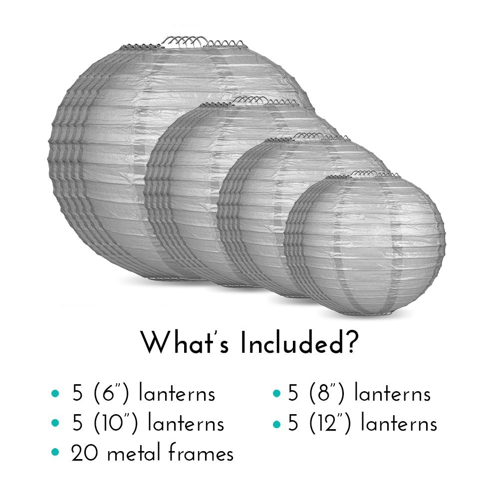 Ultimate 20pc Silver Paper Lantern Party Pack - Assorted Sizes of 6, 8, 10, 12 for Weddings, Birthday, Events and Decor - PaperLanternStore.com - Paper Lanterns, Decor, Party Lights & More