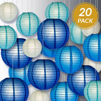 "Ultimate 20-Piece Sky Blue Variety Paper Lantern Party Pack - Assorted Sizes 6"", 8"", 10"", 12"" (5 Lanterns Each) Weddings, Birthday, Events, Decor"