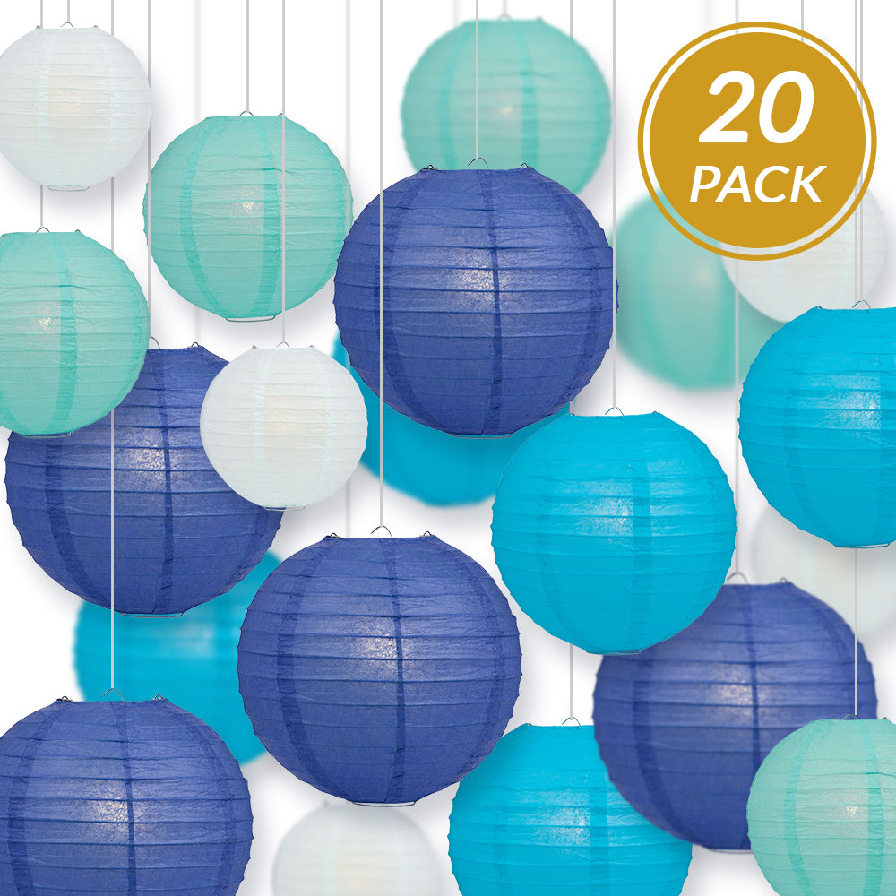 "Ultimate 20-Piece Sky Blue Variety Paper Lantern Party Pack - Assorted Sizes 6"", 8"", 10"", 12"" (5 Lanterns Each) Weddings, Birthday, Events, Decor - PaperLanternStore.com - Paper Lanterns, Decor, Party Lights & More"