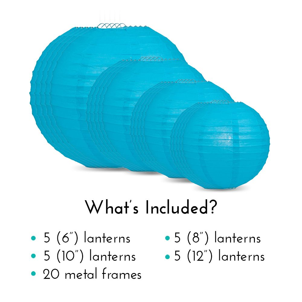 Ultimate 20pc Turquoise Paper Lantern Party Pack - Assorted Sizes of 6, 8, 10, 12 for Weddings, Birthday, Events and Decor - PaperLanternStore.com - Paper Lanterns, Decor, Party Lights & More