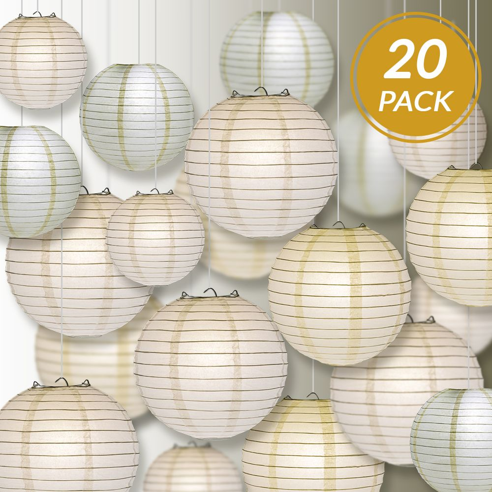 "Ultimate 20-Piece White Variety Paper Lantern Party Pack - Assorted Sizes of 6"", 8"", 10"", 12"" (5 Round Lanterns Each) for Weddings, Events and Decor"