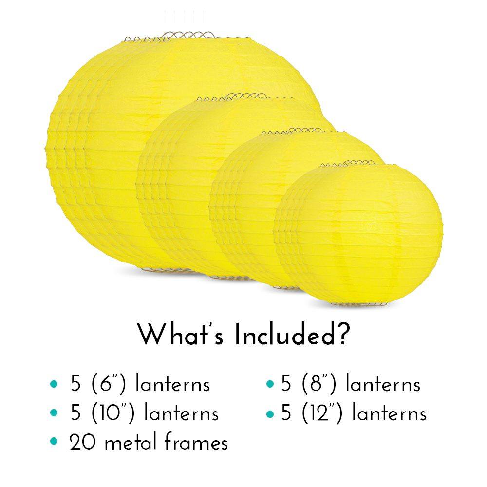 Ultimate 20pc Yellow Paper Lantern Party Pack - Assorted Sizes of 6, 8, 10, 12 for Weddings, Birthday, Events and Decor