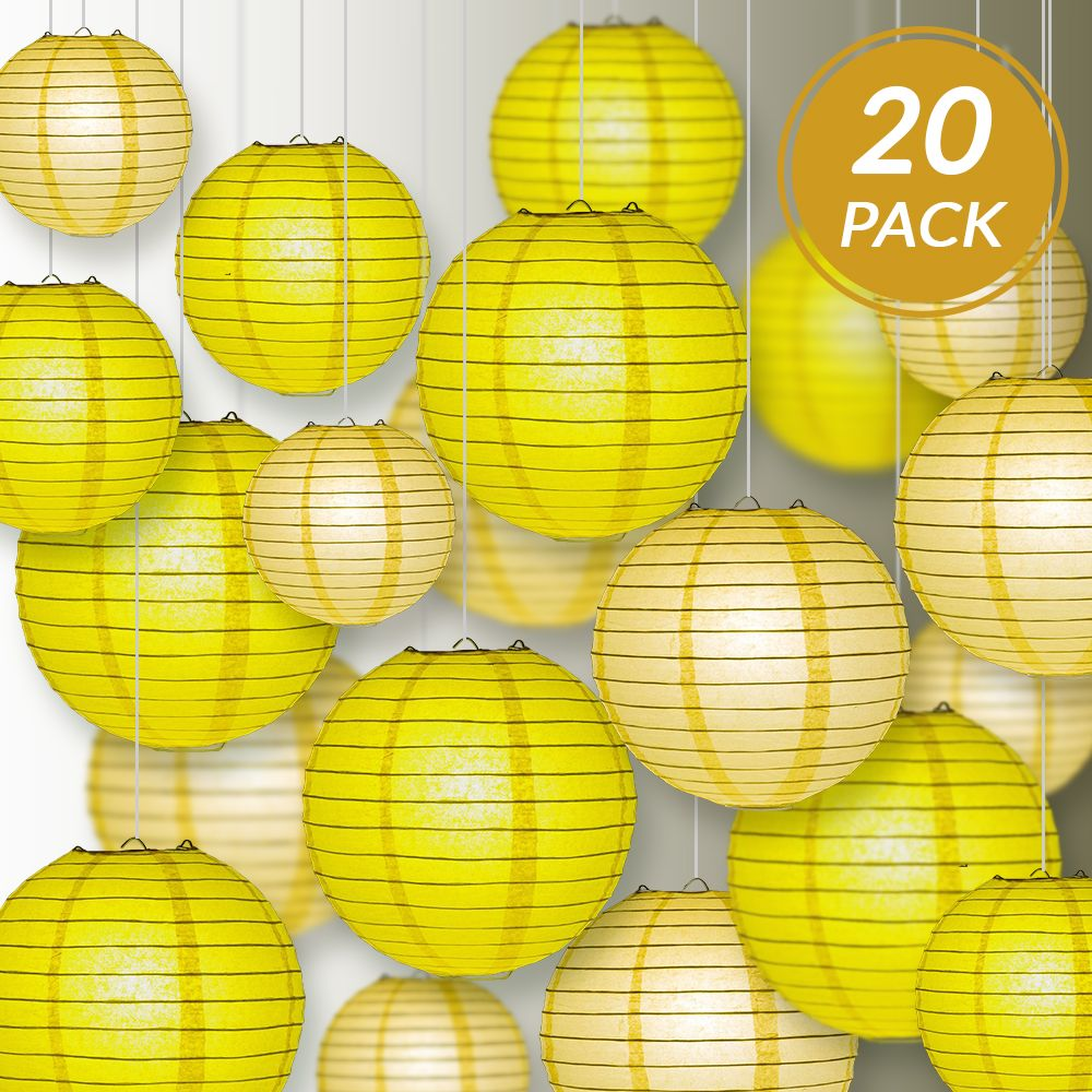 "Ultimate 20-Piece Yellow Variety Paper Lantern Party Pack - Assorted Sizes of 6"", 8"", 10"", 12"" (5 Round Lanterns Each) for Weddings, Events and Decor"