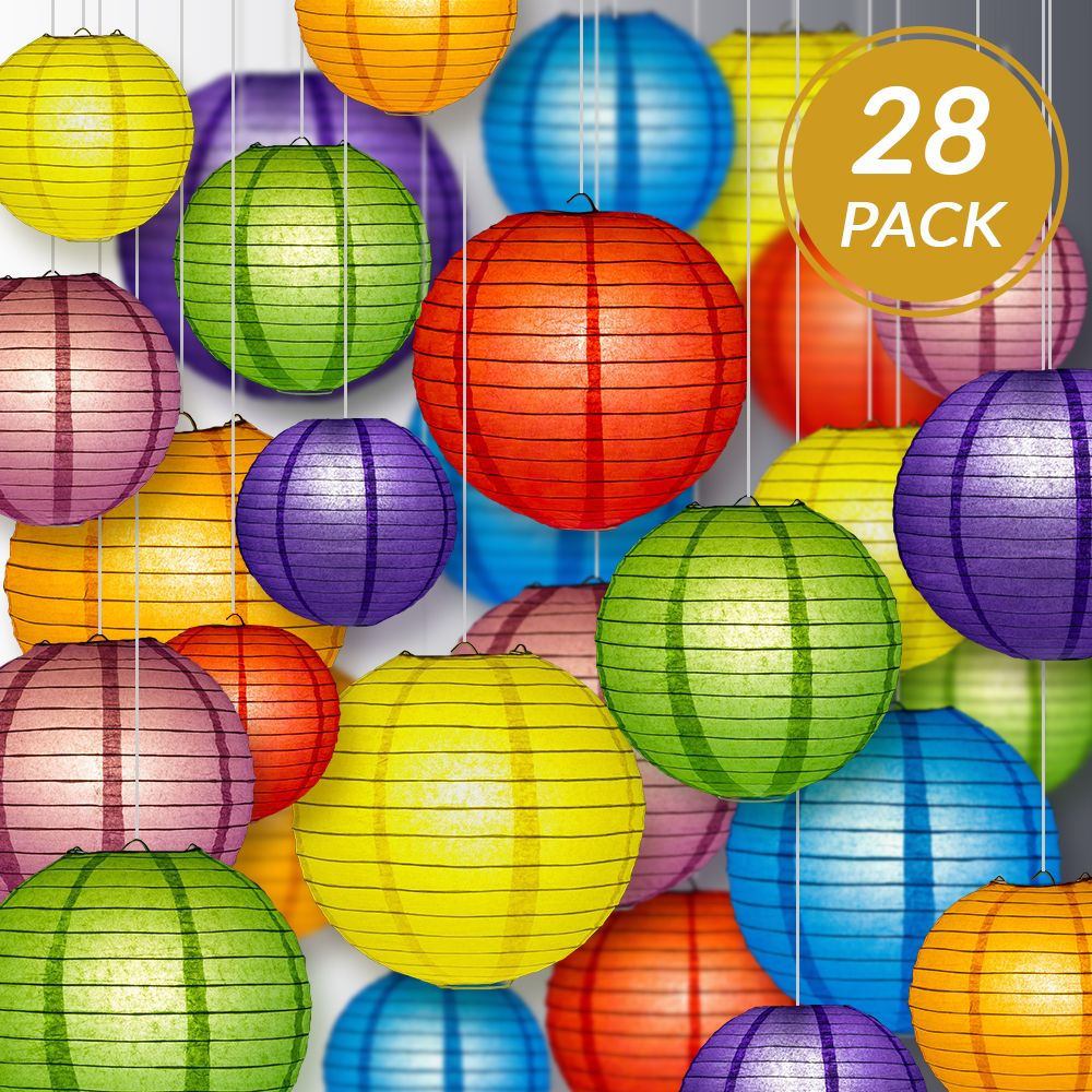 "Ultimate 28-Piece Rainbow Variety Paper Lantern Party Pack - Assorted Sizes of 6"", 8"", 10"", 12"" (7 Round Lanterns Each) for Weddings, Events and Decor - PaperLanternStore.com - Paper Lanterns, Decor, Party Lights & More"
