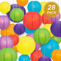 "Ultimate 28-Piece Rainbow Variety Paper Lantern Party Pack - Assorted Sizes of 6"", 8"", 10"", 12"" (7 Round Lanterns Each) for Weddings, Events and Decor"