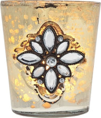 BLOWOUT Vintage Bejeweled Mercury Glass Candle Holder (3-Inch, Tiffany Design, Gold) - For Use with Tea Lights - Home Decor, Parties, and Wedding Decorations