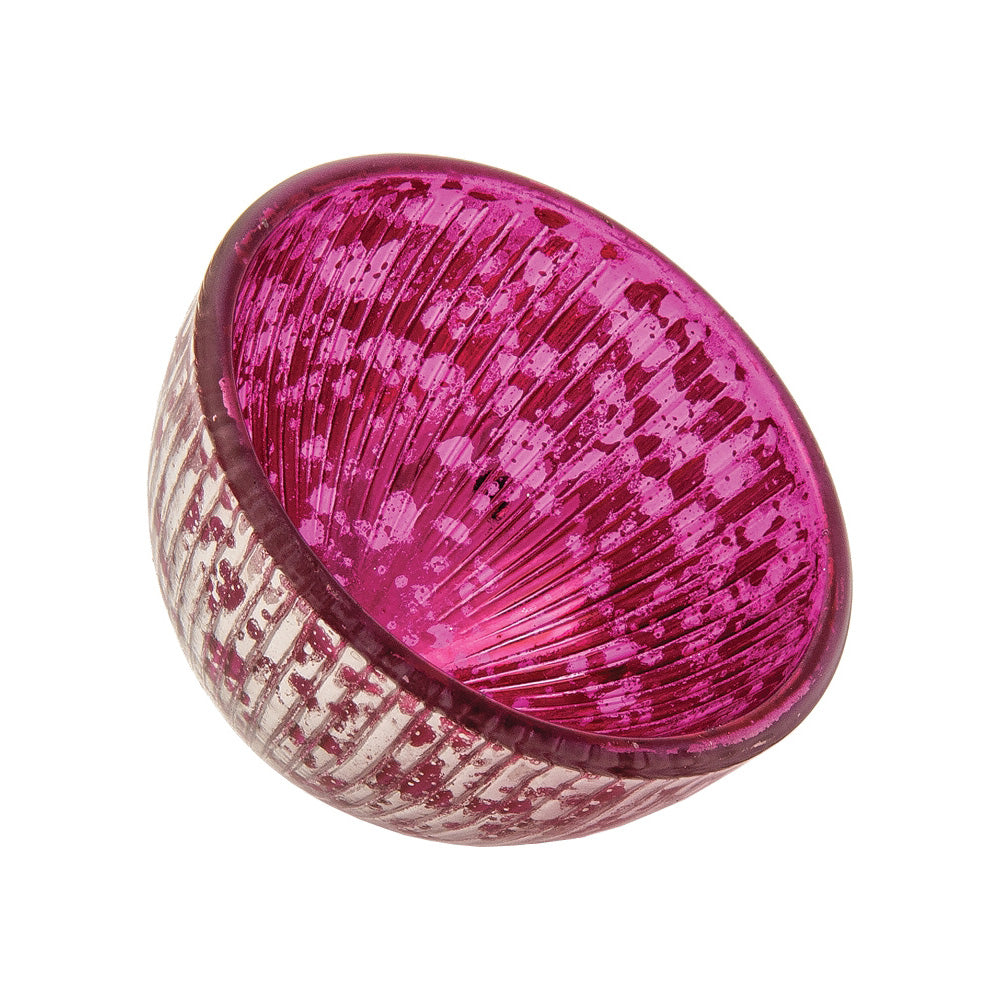 "Floating Mercury Glass Candle Holder (2.25"" Bryn Design, Fuchsia Pink, Silver Accents) - For Use with Tea Lights - PaperLanternStore.com - Paper Lanterns, Decor, Party Lights & More"