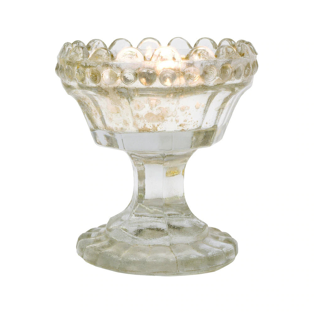 Vintage Mercury Glass Candle Holder (3-Inch, Charlene Chalice Design, Silver) - For Use with Tea Lights - For Home Decor, Parties, and Wedding Decorations