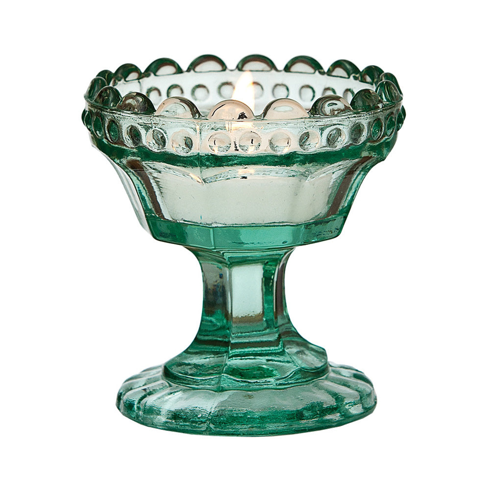Vintage Glass Candle Holder (3-Inch, Charlene Chalice Design, Vintage Green) - For Use with Tea Lights - For Home Decor, Parties, Wedding Decorations
