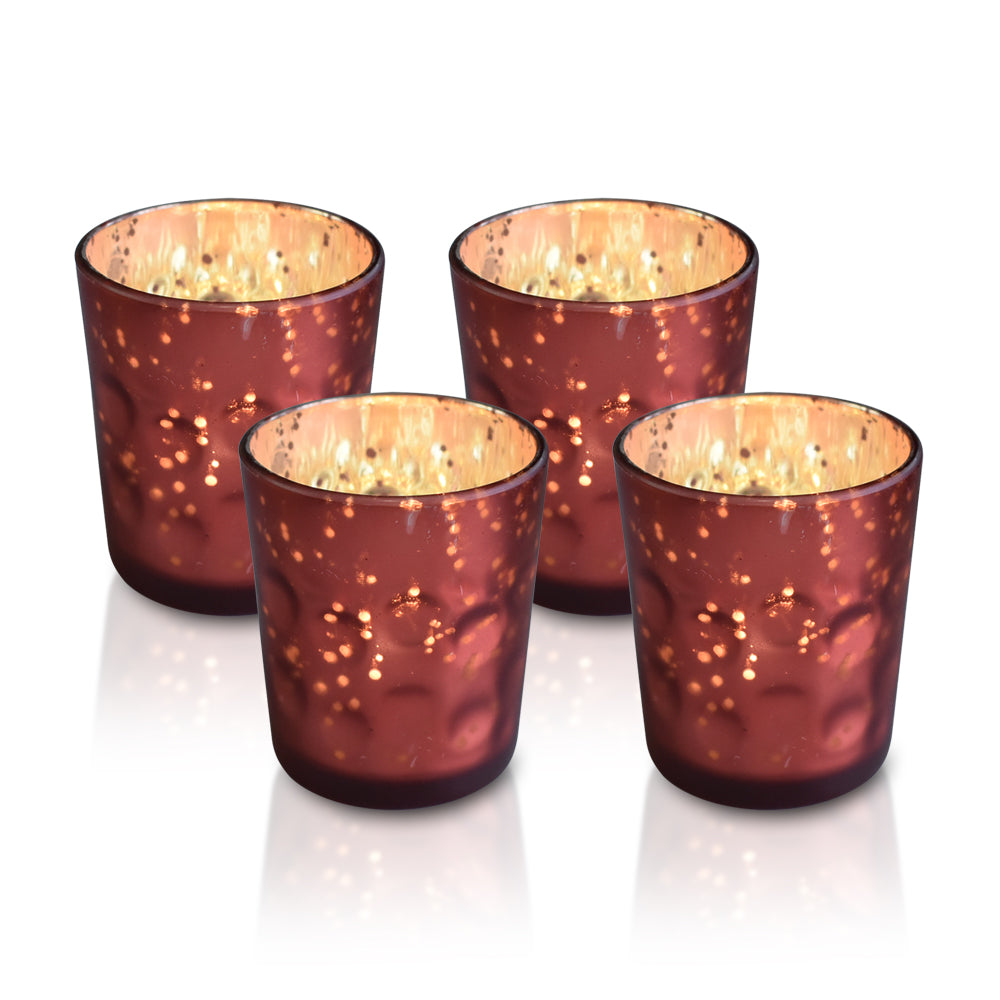 4 Pack | Mercury Glass Candle Holder (3-Inch, Tess Design, Rustic Copper Red) - for use with Tea Lights - Home Décor, Parties and Wedding Decorations
