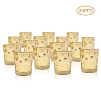 24 Pack | Vintage Mercury Glass Candle Holders (3-Inch, Tess Design, Gold) - for use with Tea Lights - for Home Décor, Parties and Wedding Decorations - PaperLanternStore.com - Paper Lanterns, Decor, Party Lights & More