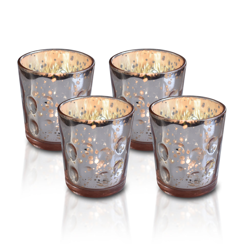 4 Pack | Mercury Glass Candle Holder (3-Inch, Tess Design, Rose Gold Pink) - for use with Tea Lights - for Home Décor, Parties and Wedding Decorations