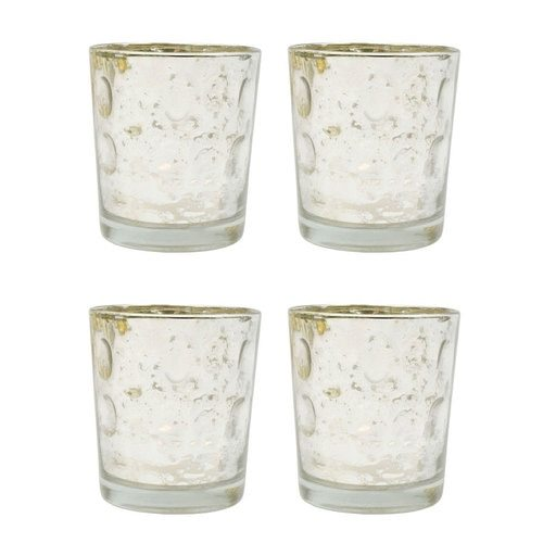 24 Pack | Vintage Mercury Glass Candle Holders (3-Inch, Tess Design, Silver) - for use with Tea Lights - for Home Décor, Parties and Wedding Decorations