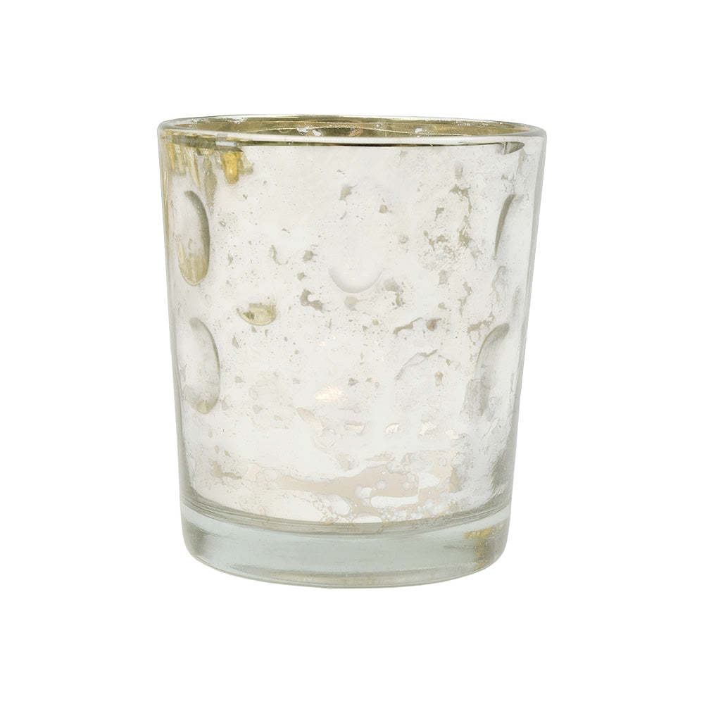 BLOWOUT Mercury Glass Candle Holder (3-Inch, Tess Design, Silver) - for use with Tea Lights - for Home Décor, Parties and Wedding Decorations