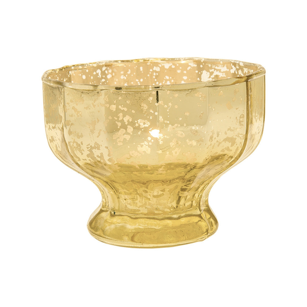 Vintage Mercury Glass Candle Holder (2.75-Inch, Maude Design, Sundae Cup Motif, Gold) - Decorative Candle Holder - For Home Décor, Wedding Centerpiece