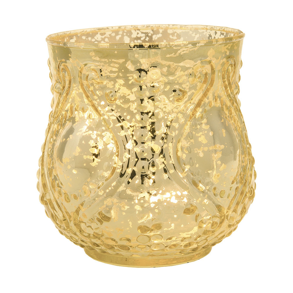 Vintage Mercury Glass Candle Holder (4-Inch, Rose Design, Large Nouveau Motif, Gold) - Decorative Candle Holder - Home Decor and Wedding Centerpieces