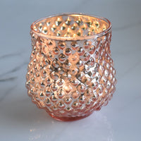 6 Pack | Small Ruby Mercury Glass Vase and Candle Holder - Rose Gold Pink For Use with Tea Lights - For Home Decor, Parties and Wedding Decorations - Mercury Glass Votive Holders