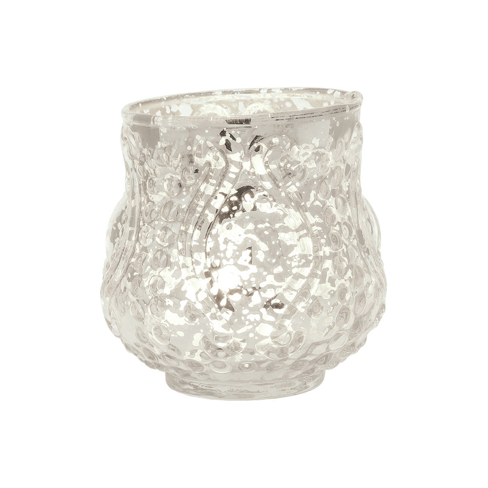 Vintage Mercury Glass Candle Holder (3-Inch, Rose Design, Small Nouveau Motif, Silver) - Decorative Candle Holder