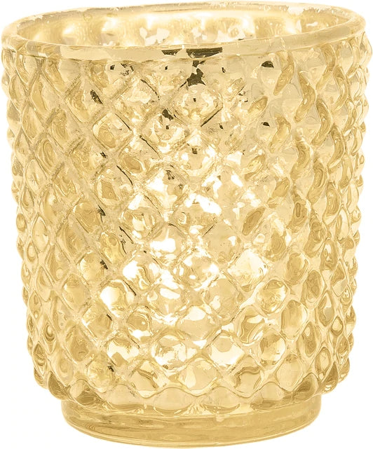 Vintage Mercury Glass Candle Holder (3-Inch, Small Rachel Design, Gold) - For use with Tea Light - Decorative Candle Holder for Home Decor and Wedding Centerpieces - PaperLanternStore.com - Paper Lanterns, Decor, Party Lights & More