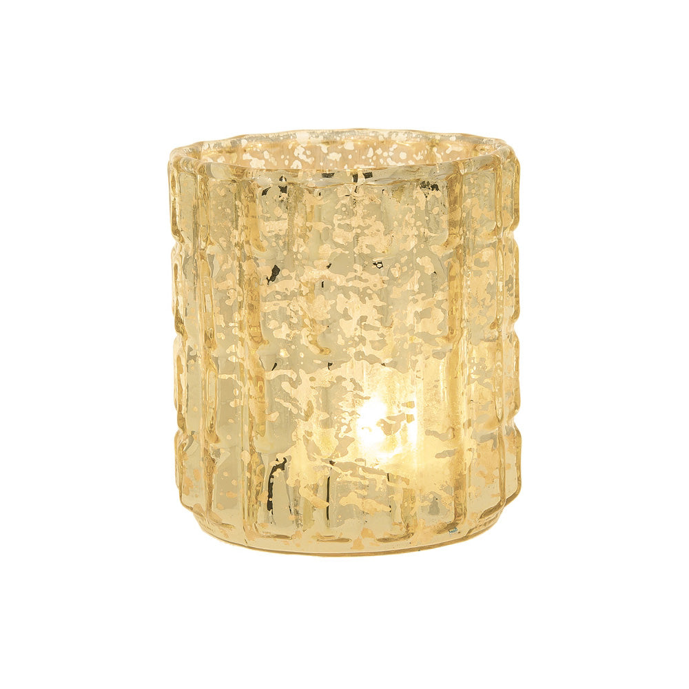Vintage Mercury Glass Candle Holder (2.75-Inch, Helen Design, Fluted Column Motif, Gold) - For Use with Tea Lights - For Parties, Weddings, and Homes - PaperLanternStore.com - Paper Lanterns, Decor, Party Lights & More