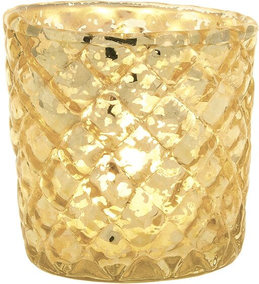 BLOWOUT Vintage Mercury Glass Candle Holder (2.5-Inch, Small Andrea Design, Gold) - For Use with Tea Lights - For Home Decor, Parties, and Wedding Decorations
