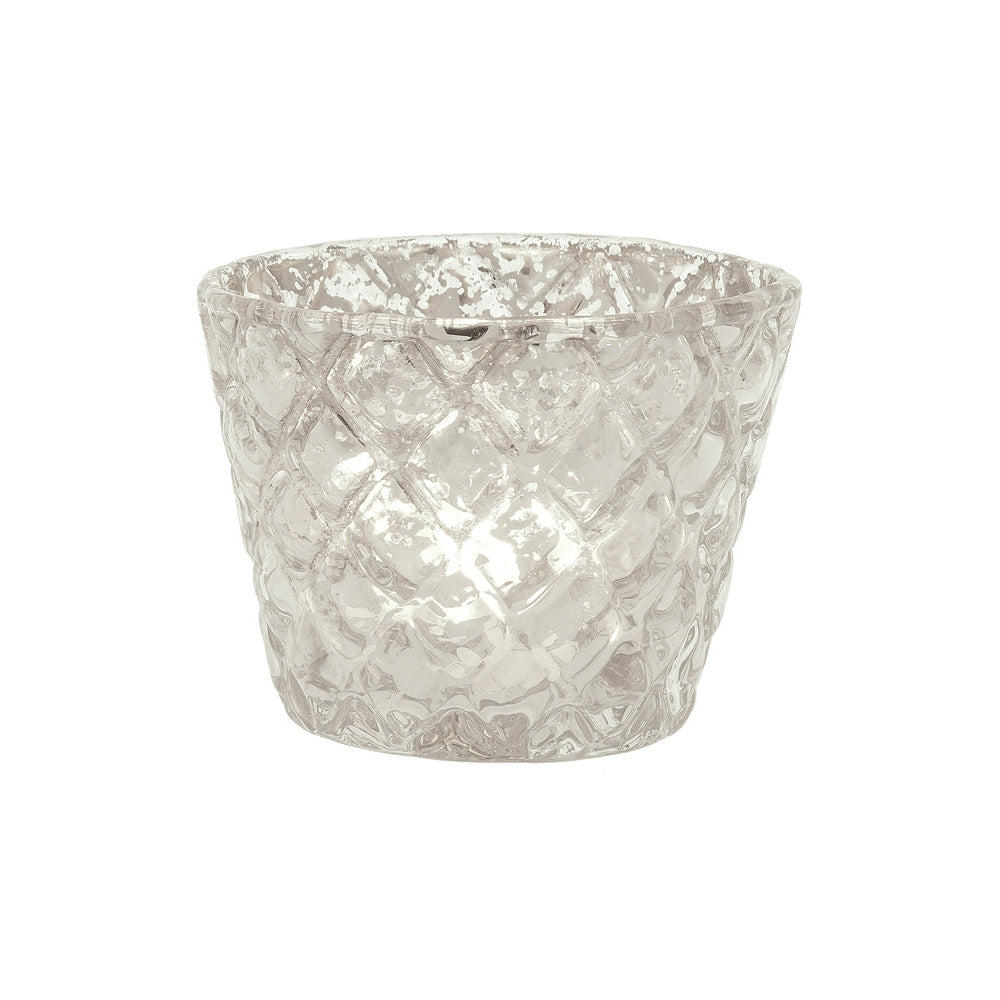 BLOWOUT Vintage Mercury Glass Candle Holder (2.5-Inch, June Design, Silver) - For Use with Tea Lights - For Parties, Weddings, and Homes