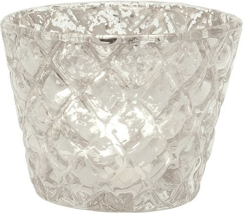 Vintage Mercury Glass Candle Holder (2.5-Inch, June Design, Silver) - For Use with Tea Lights - For Parties, Weddings, and Homes - PaperLanternStore.com - Paper Lanterns, Decor, Party Lights & More