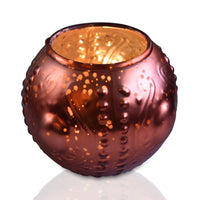 Mercury Glass Vase and Candle Holder (4-Inches, Small Josephine Design, Rustic Copper Red) - Use with Tea lights - Home Décor and Wedding Decorations