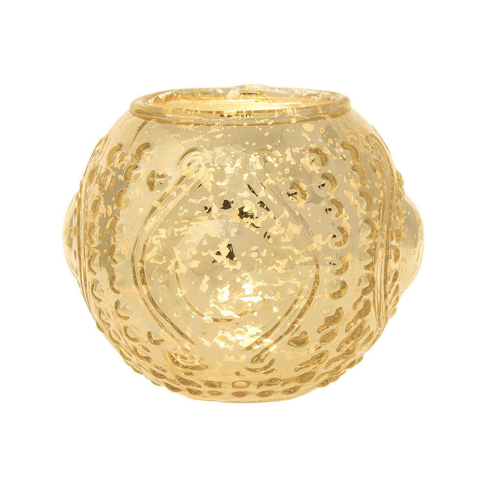Mercury Glass Candle Holder (4-Inches, Small Josephine Design, Gold) - Use with Tea lights - for Home Decor, Parties and Wedding Decorations