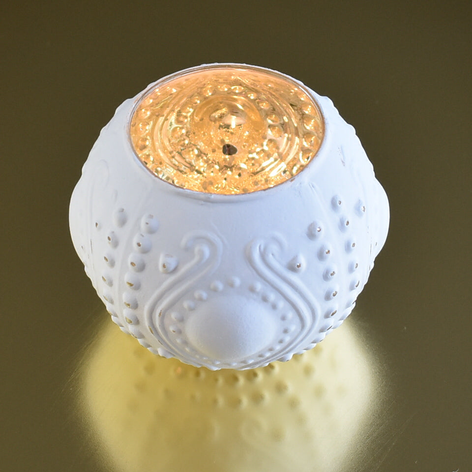 Vintage Mercury Glass Vase and Candle Holder (3.25-Inches, Small Josephine Design, Antique White) - Use with Tea lights - for Home Décor, Parties and Weddings - PaperLanternStore.com - Paper Lanterns, Decor, Party Lights & More
