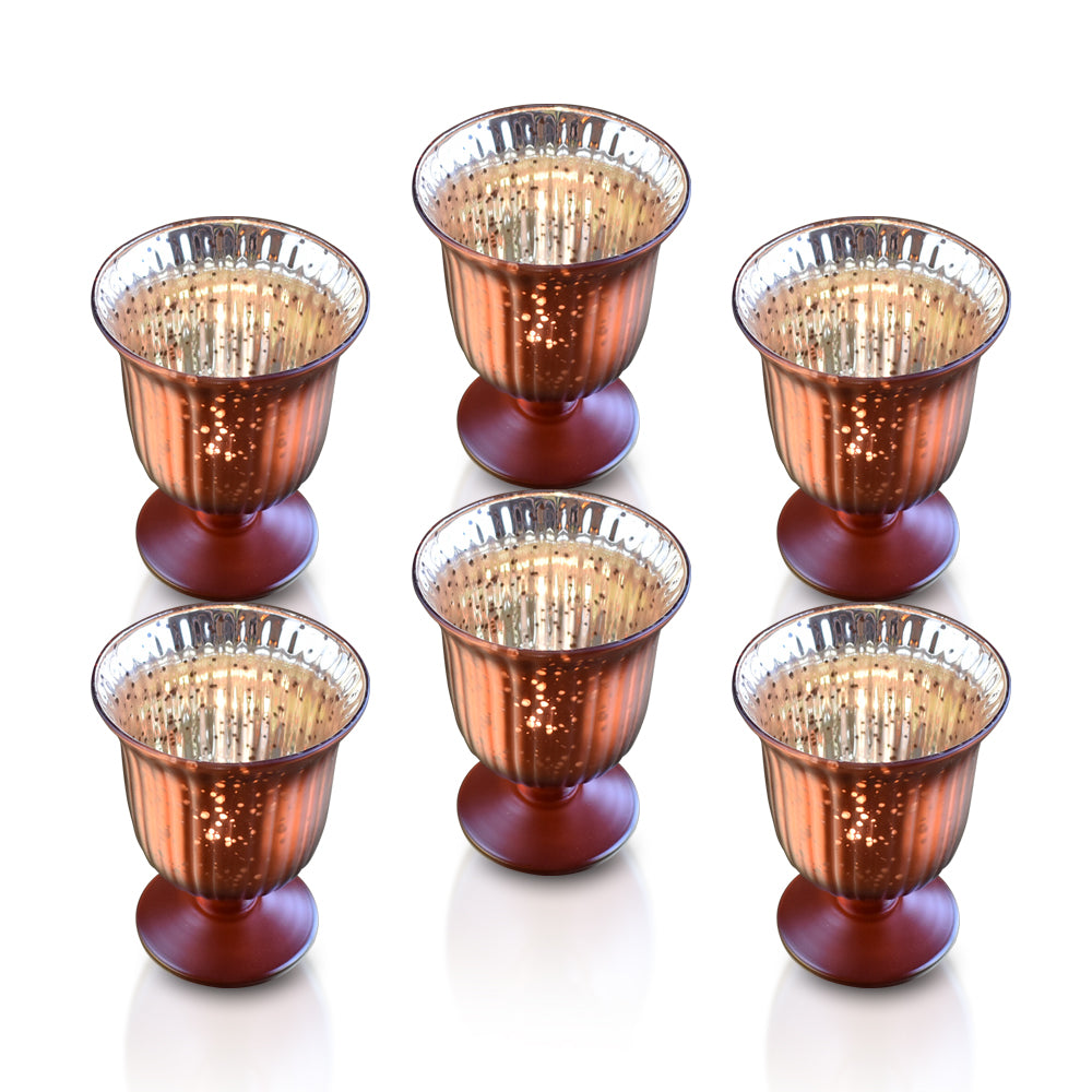 6 Pack | Vintage Mercury Glass Candle Holders (5-Inch, Emma Design, Fluted Urn, Rustic Copper Red) - Decorative Candle Holder - For Home Decor, Party Decorations, and Wedding Centerpieces - PaperLanternStore.com - Paper Lanterns, Decor, Party Lights & More