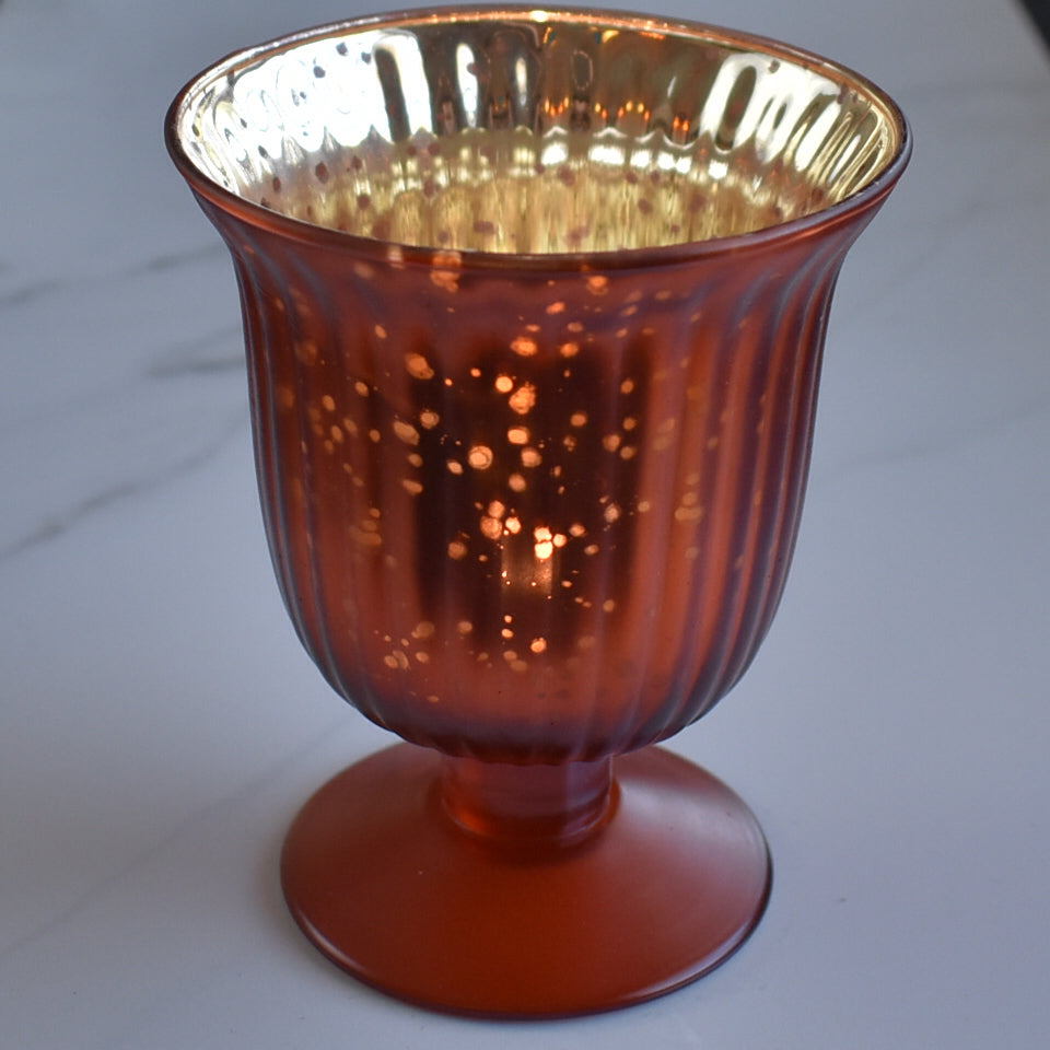 Emma Mercury Glass Urn Candle Holder - Rustic Copper Red For Use with Tea Lights - For Home Decor, Parties and Wedding Decorations