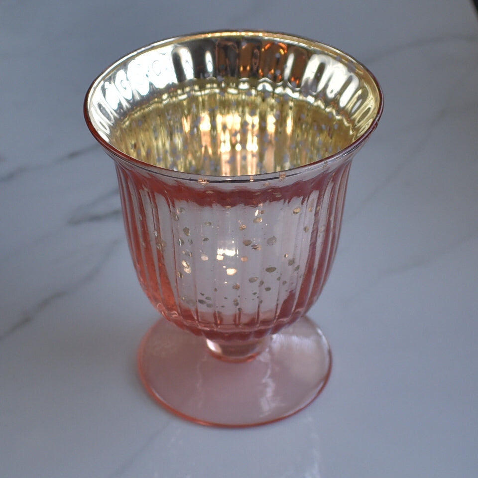 BLOWOUT Emma Mercury Glass Urn Candle Holder - Rose Gold Pink For Use with Tea Lights - For Home Decor, Parties and Wedding Decorations