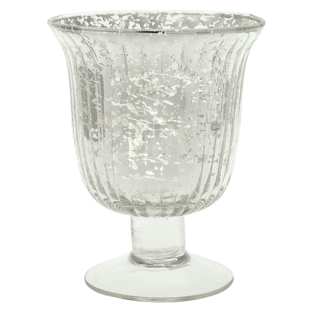 Vintage Mercury Glass Candle Holder (5-Inch, Emma Design, Fluted Urn, Silver) - Decorative Candle Holder - For Home Decor and Wedding Centerpieces - PaperLanternStore.com - Paper Lanterns, Decor, Party Lights & More