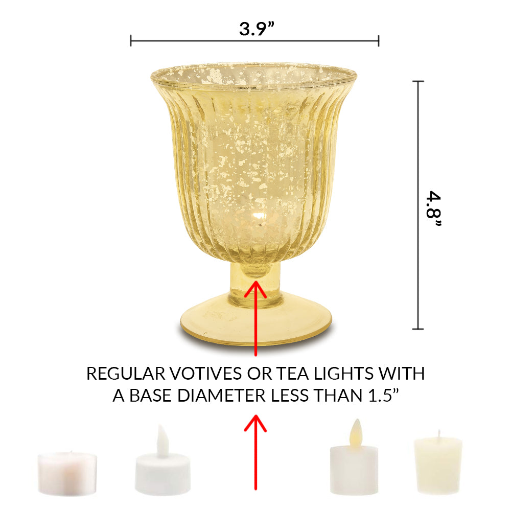 Vintage Mercury Glass Candle Holder (5-Inch, Emma Design, Fluted Urn, Silver) - Decorative Candle Holder - For Home Decor and Wedding Centerpieces