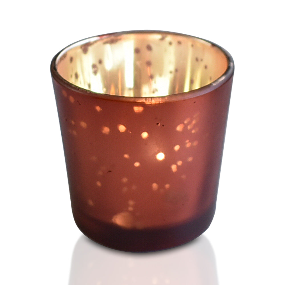 6 Pack | Vintage Mercury Glass Candle Holders (2.5-Inch, Lila Design, Liquid Motif, Rustic Red Copper) - For Use with Tea Lights - For Parties, Weddings and Homes
