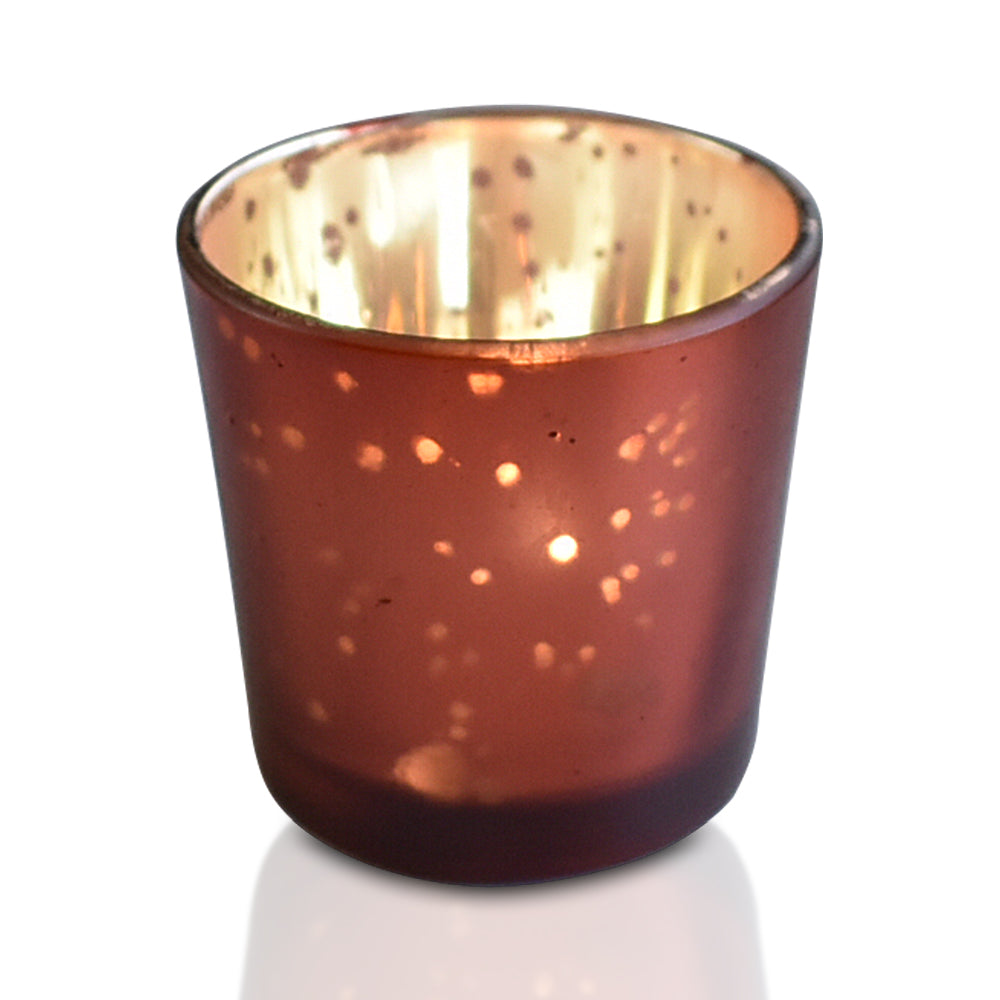 Vintage Mercury Glass Candle Holder (2.5-Inch, Lila Design, Liquid Motif, Rustic Copper Red) - For Use with Tea Lights - For Parties, Weddings and Homes - PaperLanternStore.com - Paper Lanterns, Decor, Party Lights & More